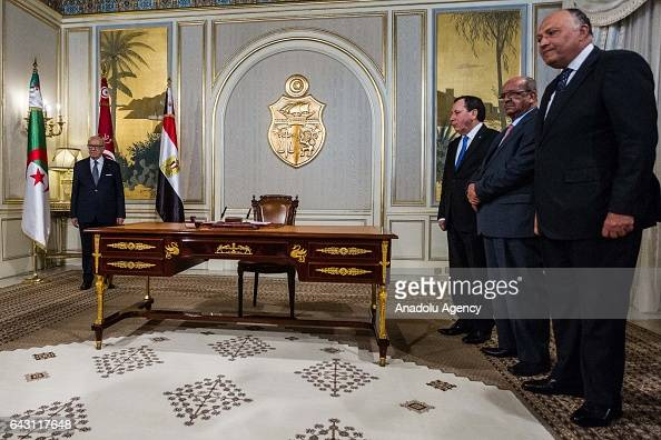 Tunisian President Beji Caid Essebsi meets with Tunisian Foreign Minister Khemaies Jhinaoui Algerian Minister for Maghreb and Africa Affairs Abdel...