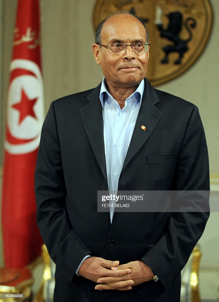 Tunisian President Moncef Marzouki attends a meeting with Tunisia's prime minister designate Ali Larayedh on February 22, 2013, in Tunis. Larayedh, the Islamist interior minister tapped to become Tunisia's next premier, pledged to form a cabinet representing all Tunisian men and women and upholding gender equality.