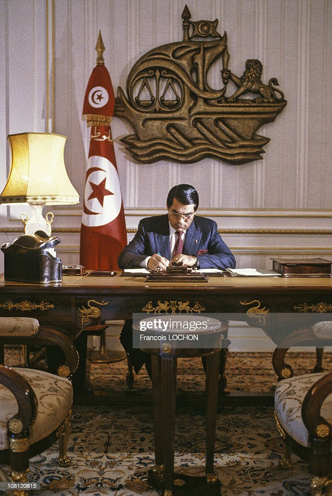 Tunisian President Zine el-Abidine Ben Ali is pictured at his office of the Presidential Palace in on September 6th, 1988 in Carthage, Tunisia.