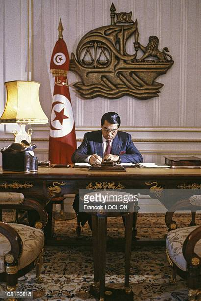 Tunisian President Zine elAbidine Ben Ali is pictured at his office of the Presidential Palace in on September 6th 1988 in Carthage Tunisia