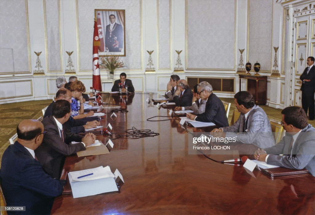 Tunisian President Zine el-Abidine Ben Ali is pictured during a ministers council at Presidential Palace in on September 6th, 1988 in Carthage, Tunisia.