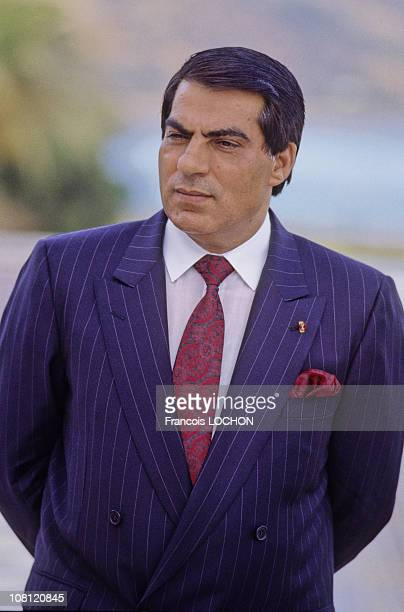 Tunisian President Zine elAbidine Ben Ali is pictured in his Presidential Palace in on September 6th 1988 in Carthage Tunisia