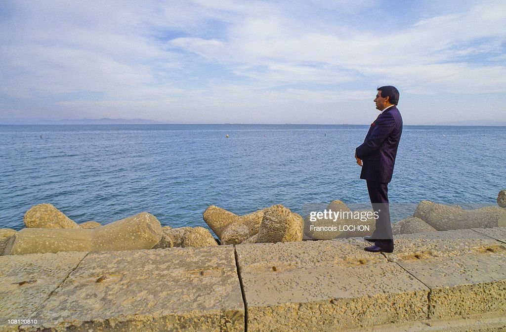 Tunisian President Zine el-Abidine Ben Ali is watching Mediterranean Sea in on September 6th, 1988 in Carthage, Tunisia.