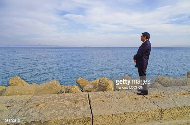 Tunisian President Zine elAbidine Ben Ali is watching Mediterranean Sea in on September 6th 1988 in Carthage Tunisia
