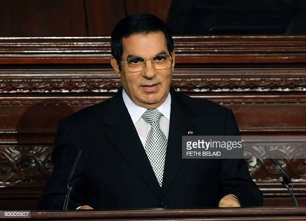 Tunisian President Zine ElAbidine Ben Ali speaks on November 12 2009 at the parliament in Tunis after swearing in for a fifth term following his...