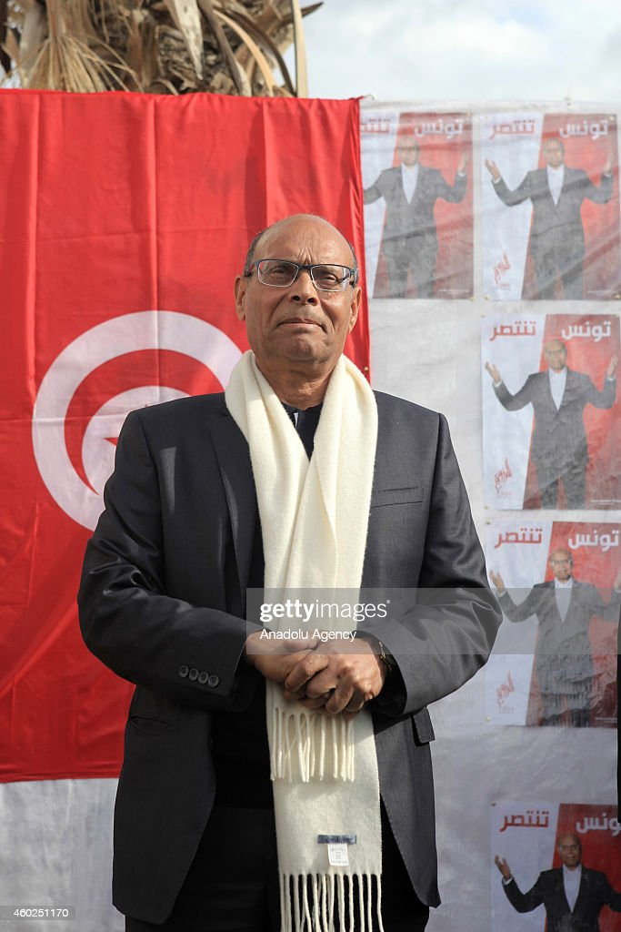 Tunisian presidential candidate Moncef Marzouki meets the crowd as a part of his election campaign for the presidential elections 2nd round to be held on 21th of December, in Tunis, Tunisia on December 10, 2014.