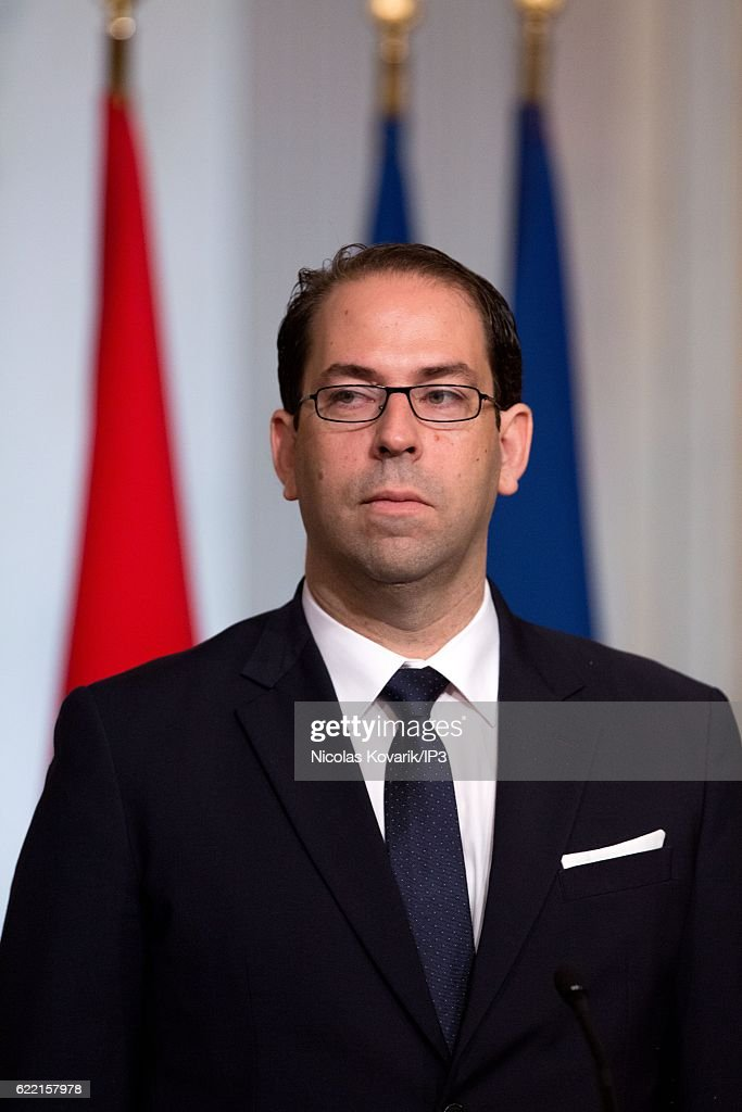 French President Francois Hollande Receives Youssef Chahed At Elysee Palace in Paris