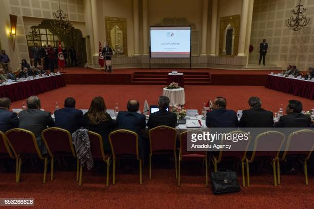 Tunisian Prime Minister Youssef Chahed speaks during a press conference held by the Independent High Authority for Elections of Tunisia regarding the...