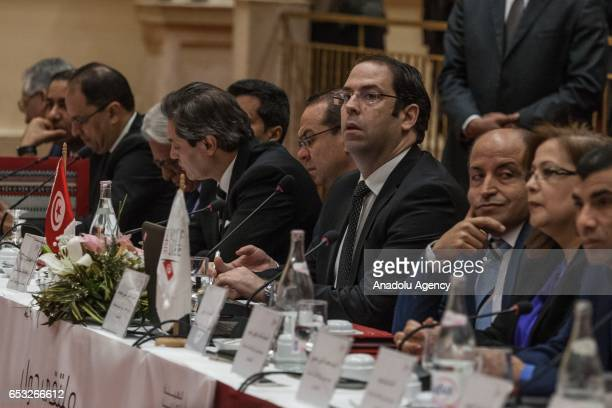 Tunisian Prime Minister Youssef Chahed takes part in a press conference held by the Independent High Authority for Elections of Tunisia regarding the...