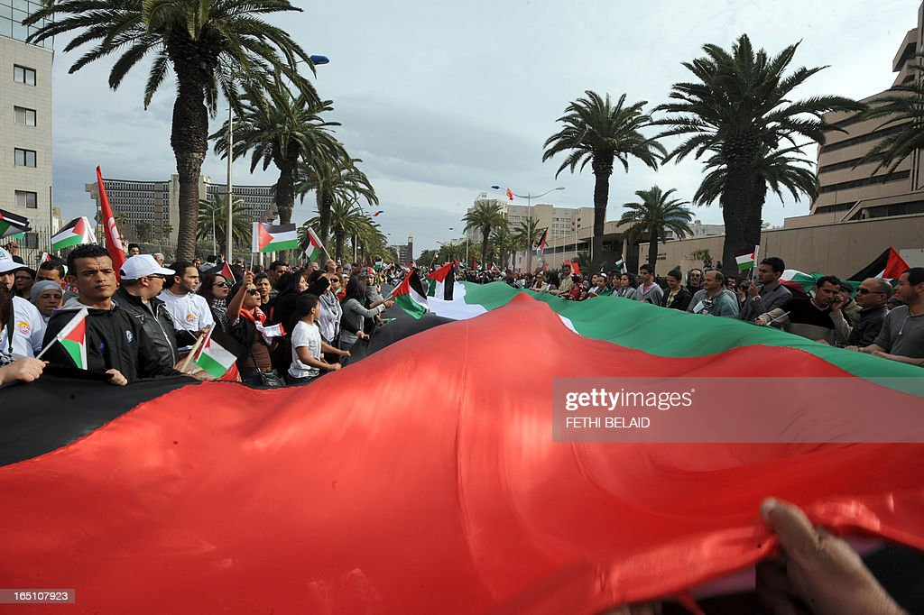 Tunisian protesters deploy a giant Palestinian flag during a global anti-capitalist demonstration to demand justice at the closing of the World Social Forum (WSF) on March 30, 2013 in Tunis. Tunisia must find a new economic model to raise the roughly 20 percent of its people living in poverty from their quagmire, President Moncef Marzouki said on Saturday.