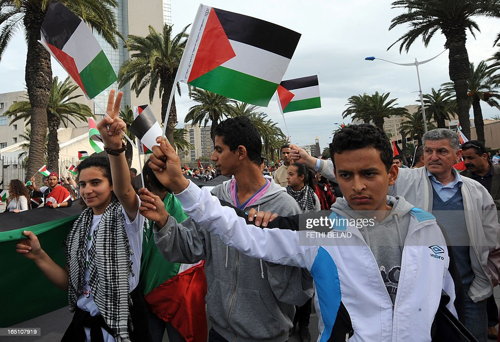 Tunisian protesters raise up Palestinian flags during a global anti-capitalist demonstration to demand justice at the closing of the World Social Forum (WSF) on March 30, 2013 in Tunis. Tunisia must find a new economic model to raise the roughly 20 percent of its people living in poverty from their quagmire, President Moncef Marzouki said on Saturday.