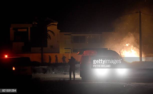 Tunisian security forces and residents of the island of Kerkennah clash on April 14 2016 over social protests related to Tunisia's natural gas...