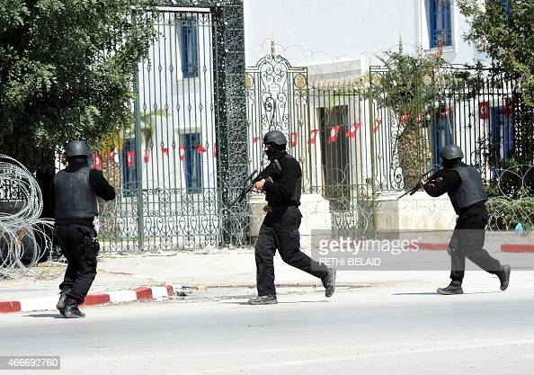 Tunisian security forces secure the area after gunmen attacked Tunis' famed Bardo Museum on March 18 2015 At least seven foreigners and a Tunisian...