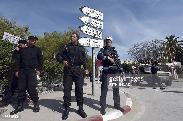 Tunisian security forces stand guard near the National Bardo Museum in Tunis on March 19 in the aftermath of an attack on foreign tourists Tunisia's...