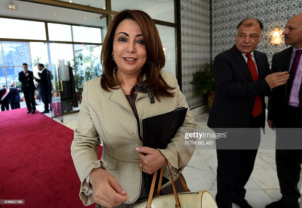 Tunisian Union of Industry, Trade and Handicrafts (UTICA) President and Nobel peace price laureate Wided Bouchammaoui (L) arrives for May Day celebrations on May 1, 2016 in the capital Tunis. / AFP / FETHI
