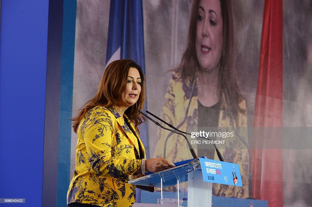 Tunisian Union of Industry Trade and Handicrafts President and Nobel peace price laureate Wided Bouchamaoui speaks during a session at the Medef...