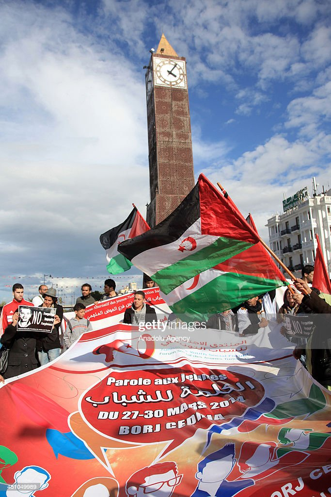 Tunisian youths hold banners about the people's freedom nationality and respectability during the demonstration as a part of World Social Forum in...