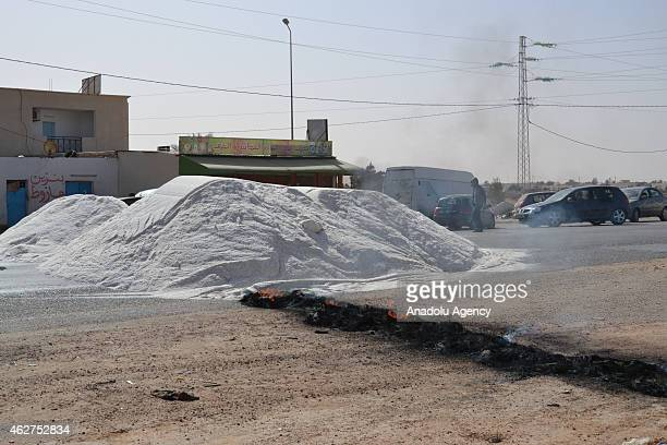 Tunisians block the road in Ben Gardane on February 4 2015 when a protest against the border tax adjustment between Libya and Tunisia