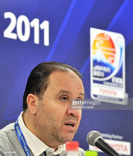 Tunisia's Esperance Sportive de Tunis coach Nabil Maaloul speaks during a press conference at the Toyota Stadium prior to team's official training...