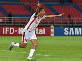 Tunisia's forward Ahmed Akaichi celebrates after scoring a goal during the 2015 African Cup of Nations group B football match between Democratic...