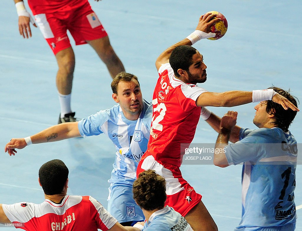 Tunisia's goalkeeper Maroaune Magaiez (C) jumps for a goal during the 23rd Men's Handball World Championships preliminary round Group A match Argentina vs Tunisia at the Palau Sant Jordi in Barcelona on January 18, 2013.