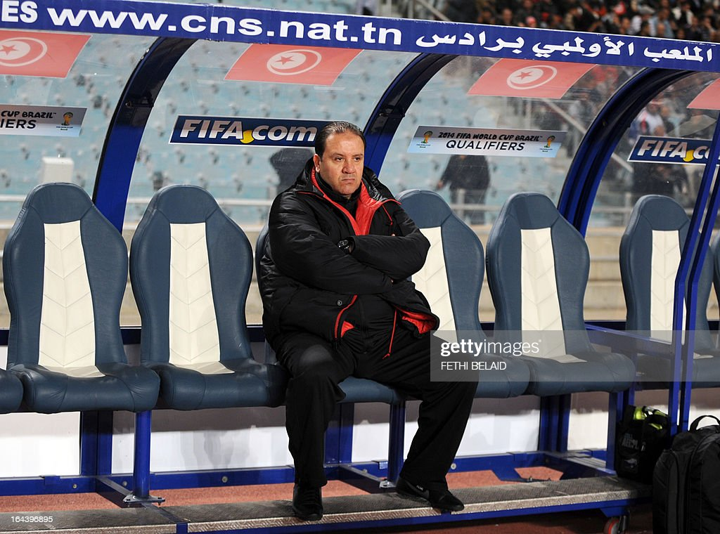 Tunisia's head coach Nabil Maaloul attends their FIFA 2014 World Cup qualifying match against Sierra Leone on March 23, 2013 at the Rades stadium in Tunis. Tunisia won 2-1.