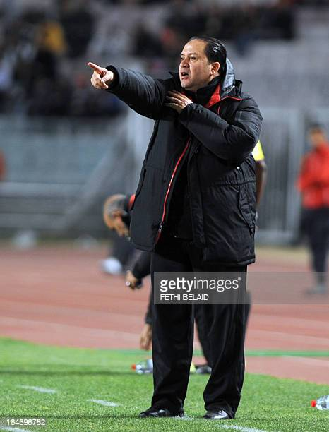 Tunisia's head coach Nabil Maaloul gestures during their FIFA 2014 World Cup qualifying match against Sierra Leone on March 23 2013 at the Rades...