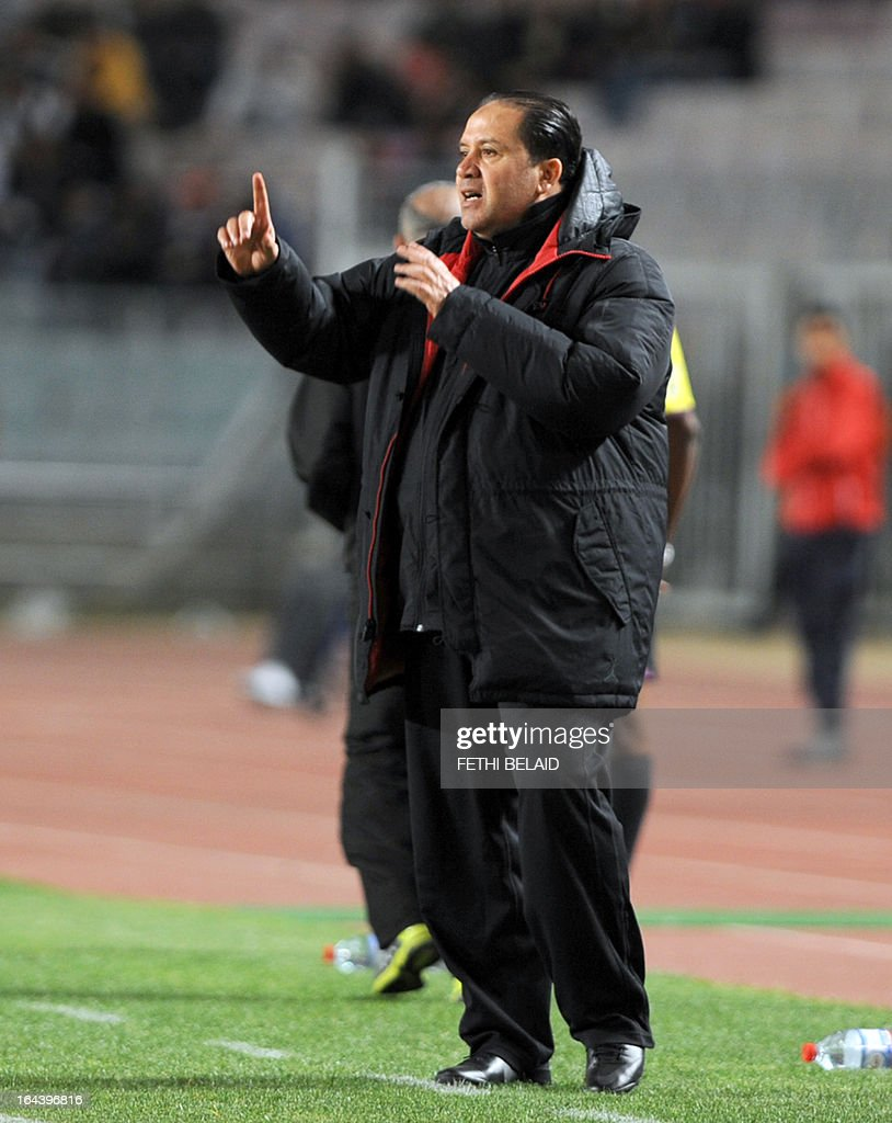 Tunisia's head coach Nabil Maaloul gestures during their FIFA 2014 World Cup qualifying match against Sierra Leone on March 23, 2013 at the Rades stadium in Tunis. Tunisia won 2-1.
