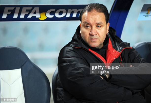 Tunisia's head coach Nabil Maaloul looks on during their FIFA 2014 World Cup qualifying match against Sierra Leone on March 23 2013 at the Rades...
