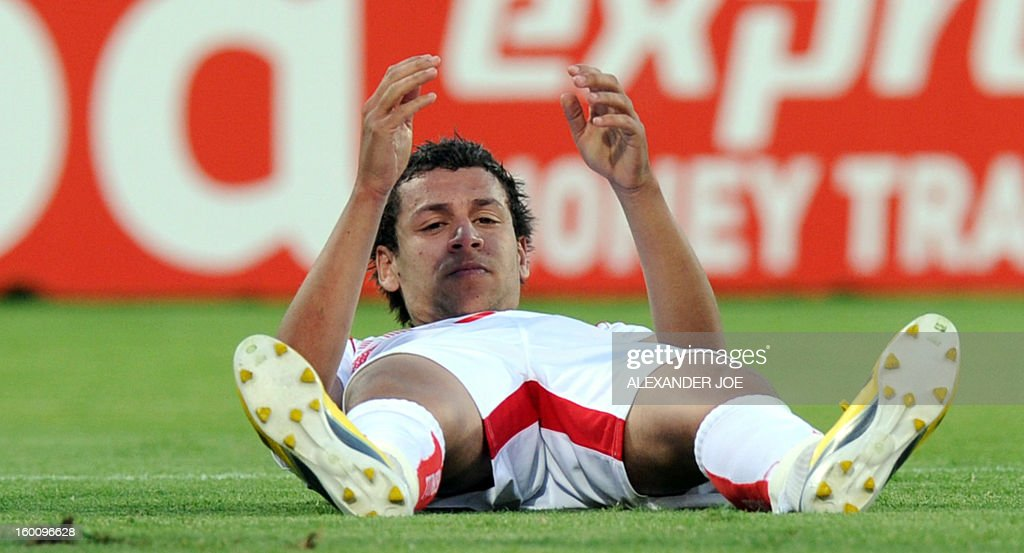 Tunisia's Midfielder Youssef Msakni reacts after missing a goal during the 2013 African Cup of Nations match against Ivory Coast on January 26, 2013 at Royal Bafokeng Stadium in Rustenburg.