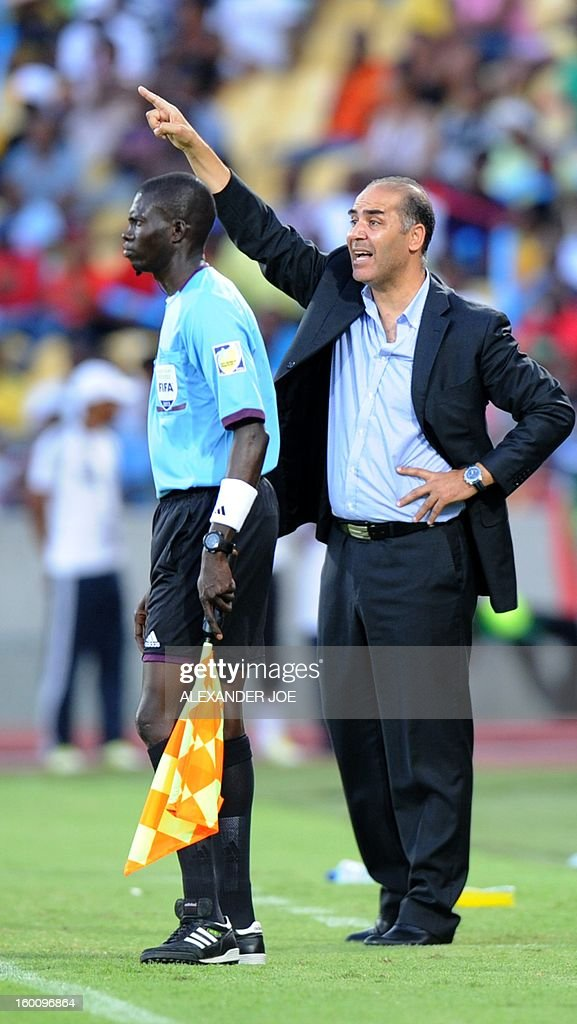 Tunisia's national football team coach Sami Trabelsi gestures during the 2013 African Cup of Nations football match Ivory Coast vs Tunisia in Rustenburg on January 26, 2013 at Royal Bafokeng Stadium. Ivory Coast won 3-0.