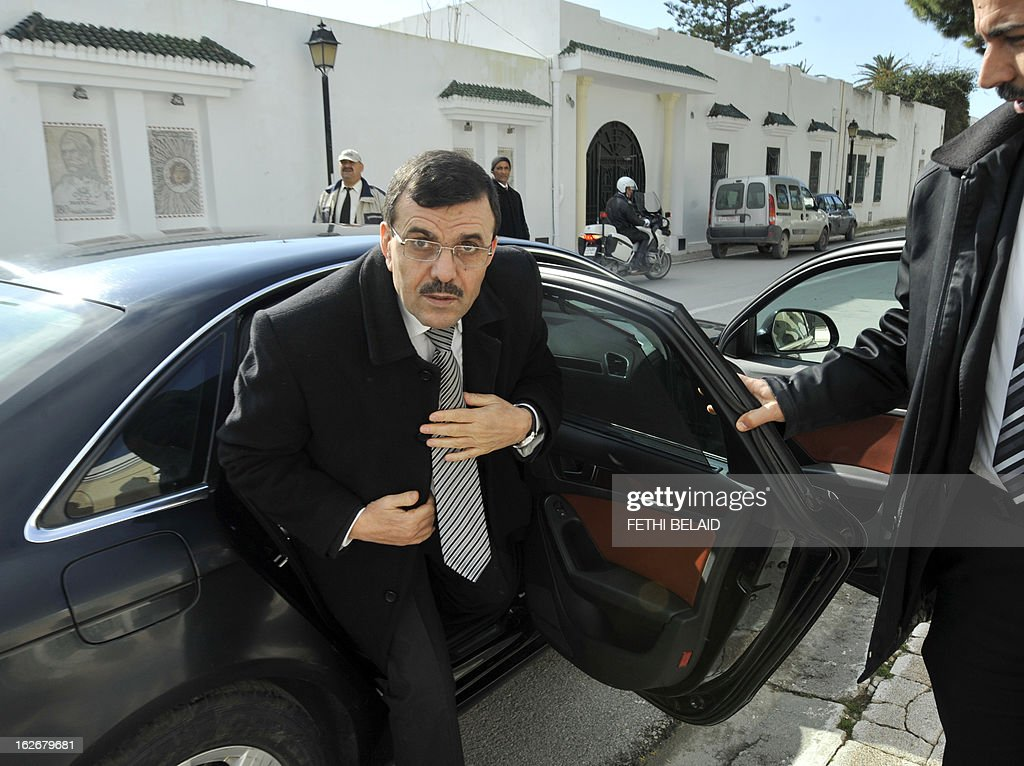 Tunisia's new Prime Minister Ali Larayedh arrives to meet with leaders of local political parties on February 26, 2013 in Tunis. On the day of Belaid's murder, then prime minister Hamadi Jebali proposed the formation of a government of technocrats as a way out of the crisis. But the initiative was rejected by his own Ennahda party, leading to his resignation.