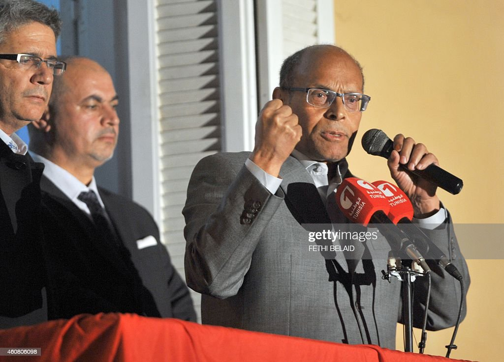 Tunisia's outgoing president <a gi-track='captionPersonalityLinkClicked' href=/galleries/search?phrase=Moncef+Marzouki&family=editorial&specificpeople=2893986 ng-click='$event.stopPropagation()'>Moncef Marzouki</a> adresses his supporters at his campaign headquarters on December 23, 2014 in Tunis, a day after his rival Beji Caid Essebsi's victory in the presidential election. Essebsi, an 88-year-old veteran of previous governments, becomes the first president freely elected by Tunisians since independence from France in 1956.