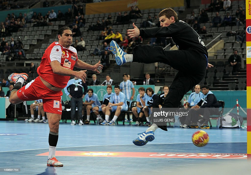 Tunisia's pivot Issam Tej (L) shoots to score past Argentina's goalkeeper Matias Schulz (R) during the 23rd Men's Handball World Championships preliminary round Group A match Argentina vs Tunisia at the Palau Sant Jordi in Barcelona on January 18, 2013. AFP PHOTO/ LLUIS GENE