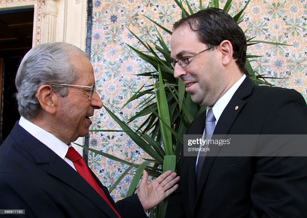 Tunisia's premierdesignate Youssef Chahed is welcomed by the President of the Assembly of People's Representatives Mohamed Ennaceur upon his arrival...
