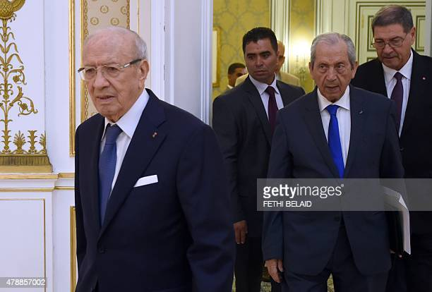 Tunisia's President Beji Caid Essebsi President of the Assembly Mohamed Ennaceur and Prime Minister Habib Essid arrive for the National Security...