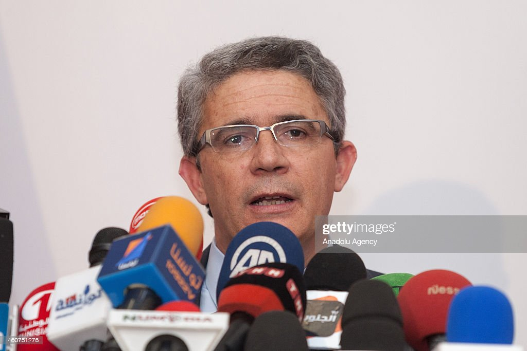 Tunisia's presidential candidate <a gi-track='captionPersonalityLinkClicked' href=/galleries/search?phrase=Moncef+Marzouki&family=editorial&specificpeople=2893986 ng-click='$event.stopPropagation()'>Moncef Marzouki</a>'s campaign manager, Adnan Mancer holds a press conference after polling stations close down during the second round of presidential elections in Tunis, Tunisia on December 21, 2014. Nearly 5.3 million Tunisian voters are eligible to cast ballot in Sunday's election, which is billed as the final round of the country's first democratic presidential elections.