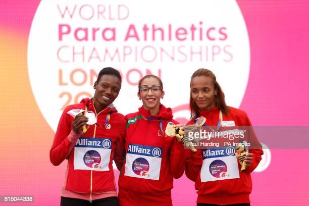 Tunisia's Somaya Bousaid Morocco's Benhama and Tunisia's Najah Chouaya after the Women's 1500m T13 during day two of the 2017 World Para Athletics...