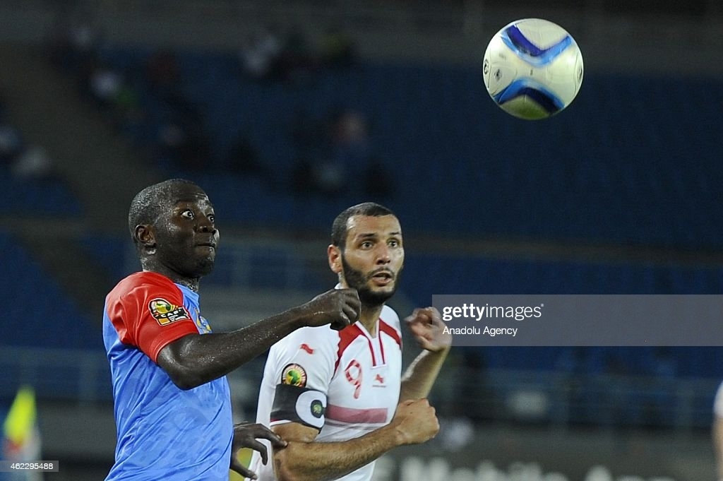 Tunisia's Yassine Chikhaoui (R) in action against Congo's <a gi-track='captionPersonalityLinkClicked' href=/galleries/search?phrase=Cedric+Mongongu&family=editorial&specificpeople=4305033 ng-click='$event.stopPropagation()'>Cedric Mongongu</a> (L) during the 2015 African Cup of Nations Group B soccer match between Gabon and Congo at Bata Stadium in Bata, Equatorial Guinea on January 26, 2015.