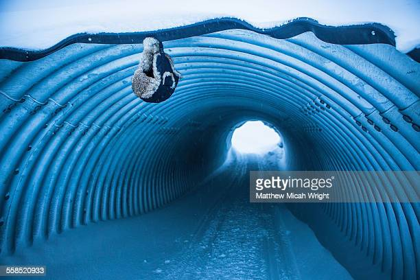 A tunnel is covered in snow in Abisko