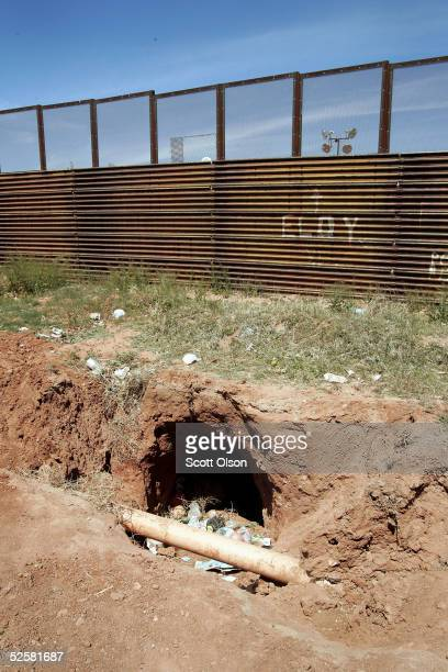 A tunnel leads under the fence which separates the United States from Mexico April 2 2005 between Naco Sonora Mexico and Naco Arizona More than 1000...