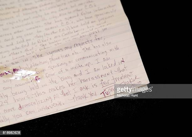Tupac Shakur TwoPage handwritten signed letter from prison to the Deputy Warden of Rikers Island Prison for auction at Gotta Have It store on July 19...