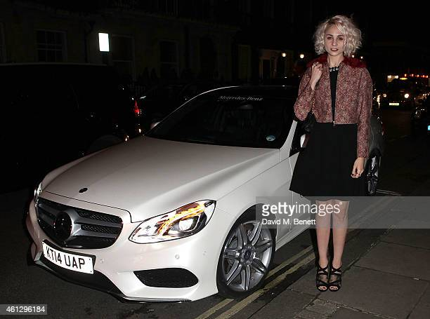 Tuppence Middleton arrives in style in a MercedesBenz during London Collections Men at Esquire's party at Mark's Club on January 10 2015 in London...