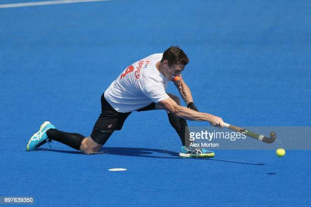 Tupper Scott of Canada scores his sides first goal from the penalty spot during the Hero Hockey World League SemiFinal match between Netherlands and...