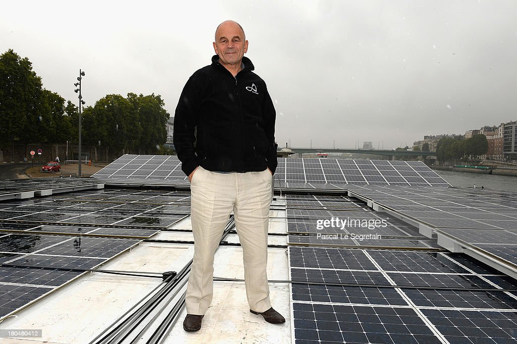 Turanor PlanetSolar's Captain Gerard D'Aboville poses aboard the largest solar vessel in the world powered exclusively by the sun on September 13, 2013 in Paris, France. After five months in the Gulf Stream using data gathered from it's journey, 'to examine how oceanic processes interact with the atmosphere', the record breaking vessel has docked in the River Seine in Paris.