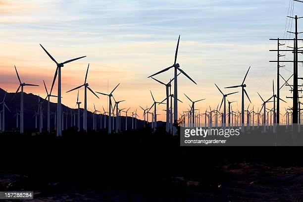Turbine Green Power In The Desert Sunset