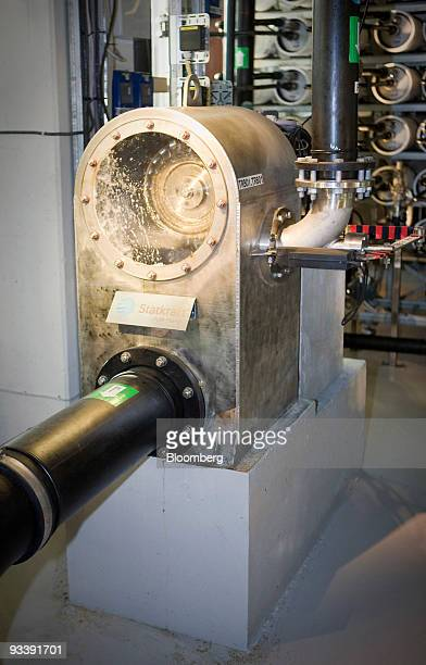 A turbine operates inside the world's first prototype of an osmotic power station in Tofte Norway on Tuesday Nov 24 2009 Statkraft SF Europe's...