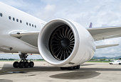 turbine of airplane in airport