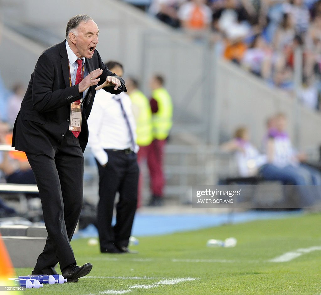 FFC Turbine Potsdam's coach Bernd Schroeder gestures during their UEFA women's Champions League final football match beetwen Olympique Lyonnais and FFC Turbine Potsdam at the Coliseum Alfonso Perez stadium in Getafe on May 20, 2010. near Madrid.