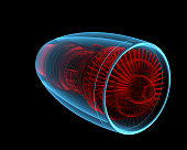 Turbo jet engine (3D xray red and blue transparent isolated on black background)